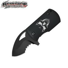 Renegade - Fast Clip Black Skull Small Assisted Opening Knife RT137 New