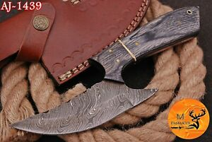 HAND FORGED DAMASCUS STEEL HUNTING KNIFE WITH WOOD HANDLE - AJ 1439