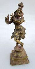 Vintage Old Rare Hindu Love God Krishna Standing Figure Statue Hand Carved Brass