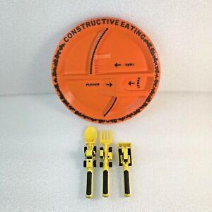 Constructive Eating Construction Kid's Combo Set 4-Pieces (Plate & 3 Utensils)
