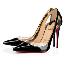 Christian Louboutin Cosmo 554 100 Black Patent Leather Gold PVC Heel Pump 36