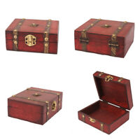 Mini Antique Wooden Box Handmade Trinket Storage Keepsake Jewelry Gift Boxes qwe