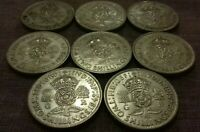 King George VI. Pre 1947 Silver Two Shillings Collection. (x8 Coins). Lot #139
