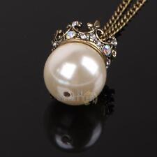 New Fashion Large Imitation Pearl Bead Crown Pendant Rhinestone Bronze Necklace