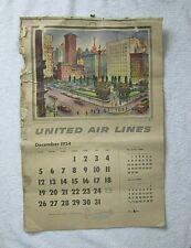 Vintage 1954-55 Calendar United Airlines Frameable Litho Art Joe Feher 13 Pages