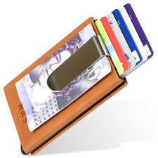 Bank Credit Card Holder Wallet Protector Money Clip RFID Blocking PU Leather