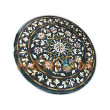 32'' Round Marble Coffee Table Floral Top Marquetry Inlay Real Garden Decor B410