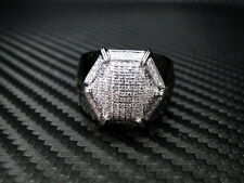 NEW MENS DIAMOND RING 14K WHITE GOLD ROUND CUT PAVE SET 0.71CTS SIZE 10