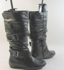 NEW LADIES sexy Black Round Toe  Mid-Calf Boots Side Buckles Size 5.5