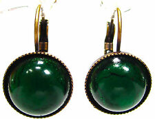 SoHo® Ohrhänger vintage bohemia cabochons deep green handgemachtes Glas 1950´s