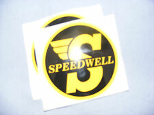 CLASSIC MINI SPEEDWELL 75MM Dia  PERIOD DECALS. (2 DECALS)