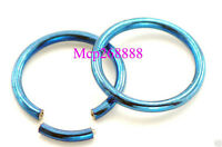 "Pair 16g 3/8"" blue titanium segment ring tragus, nose loop, lip, eyebrow rings"