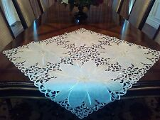 """Embroidered Christmas Tablecloth 36""""x36"""" White Table Topper Home Gift Decor"""
