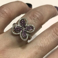0.8 ctw Natural Pink Sapphire Diamond 14k Solid White Gold Flower Cocktail Ring