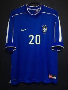 1998 Brazil Away Retro Soccer Jersey #20 Bebeto