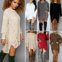 Womens Oversized Long Sleeve Knitted Ripped Loose Sweater Jumper Tops Mini Dress