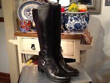 CALVIN KLEIN (Herminia) Women's Black Leather/Fabric Riding Boots-Size 9M EUC!