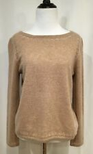 GARNET HILL Cropped Cashmere Boatneck Sweater, Caramel Color, Size Small
