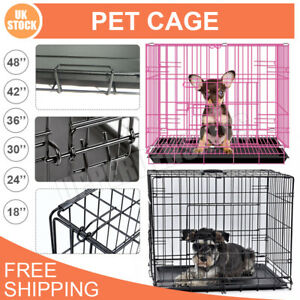 Dog Cage Foldable Puppy Pet Metal Training Crate Carrier S M L XL XXL Heavy Duty