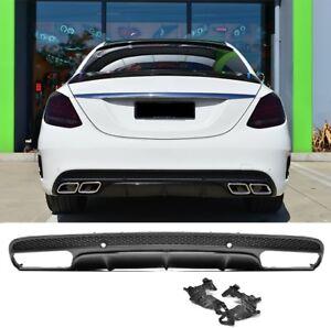 Für Mercedes-Benz C-Klasse W205 AMG Look Diffusor Stoßstange Auspuff Grill #01