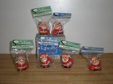 BOX OF 6 VINTAGE PLASTIC SANTA PENCIL SHARPENER IN THERE ORIGINAL BOX - stocking