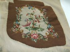 Vintage  Jacobean Styled Needlepoint WIth Birds/ Chair Seat