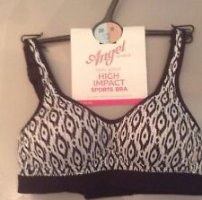 BNWT Angel Girls Non Wired High Impact Sports Bra 28B, BLACK , WHITE