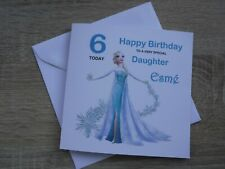 """ADD NAME/AGE- 'FROZEN' THEME  6""""X6""""  GREETING/BIRTHDAY CARD DAUGHTER/SISTER ETC"""