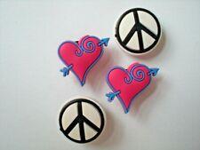 Peace Sign Heart Clog Shoe Charm Fit WristBand Plug Fit Accessory