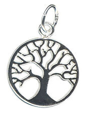 1 STERLING SILVER 925 MEDIUM TREE OF LIFE CHARM, PENDANT + OPEN JUMP RING, 14 MM