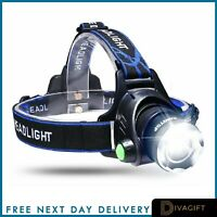 Headlamp 50000LM Rechargeable T6 LED Headlight Flashlights Head Torch Fish