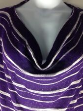 Womens Apt 9 Pullover Thin Knit Sweater Purple Striped Scoop Neck Jumper L
