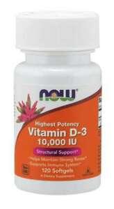 Now Foods Vitamin D-3 10000IU Maintain Strong Bones 120 Softgels 05/22EXP