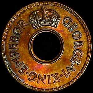FIJI. 1/2 Penny, 1942, KGVI - 🌈 Toned - San Francisco War Effort (Scarce)
