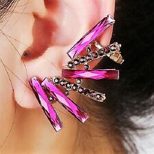 Purple Pink Crystals Geometric Cuff Earring For Left Pierced Ear UK