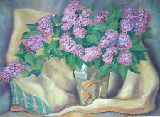 Vintage O/C Still Life LILACS Oil on Canvas Painting Edward Tomasiewicz Unframed