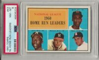 1961 TOPPS 43 NL HR LEADERS, PSA 8 NM-MT HOF, AARON / BANKS /  MATTHEWS, L@@K !