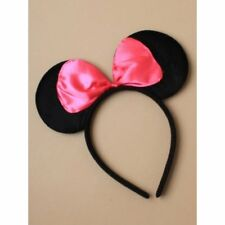 Black Minnie Mouse Ears with PINK satin bow On Alice Headband