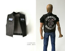 "custom 1/6 Sons of Anarchy - Jax Teller Black Leather Vest Jacket fit 12"" body"