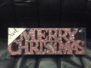 PINK SEQUIN MERRY CHRISTMAS SIGN  PLAQUE - CHRISTMAS  DECORATION