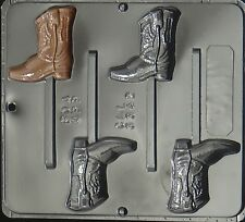 FREE SHIP NEW 4 Cavity COWBOY BOOT Chocolate Candy Plaster Clay Lolly Mold