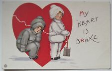 Valentine Postcard, My Heart is Broke Little Boy & Girl in Snowsuits
