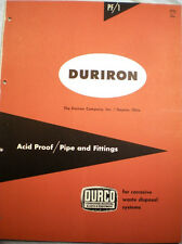 DURCO Duriron Drain Pipe Fittings Piping Catalog ASBESTOS Rope Packing 1950's