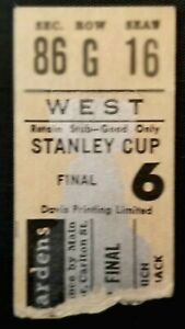 1962 Stanley Cup Finals Game 2 Ticket Stub Maple Leafs Red Wings Hockey NHL Vtg