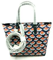 Tory Burch NEW Fiori Kerrington Small Square Orange Navy Blue CrossbodyTote $298