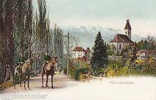 Thun Thoune AK alt Ort mit Kirche berittene Polizei Bern Schweiz Suisse 1610343