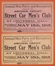 1915 Street Car Men's Club Party Tickets Archer Depot Chicago B4S2