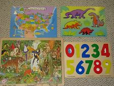 Lot of 4 Wooden Puzzles  Melissa & Doug Numbers USA Map educational