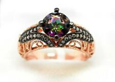 MYSTIC TOPAZ  3.42 Cts & SAPPHIRES FILIGREE RING .925 Silver Rose Plated ** NWT