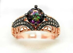 MYSTIC TOPAZ  3.46 Cts & SAPPHIRES FILIGREE RING .925 Silver Rose Plated ** NWT